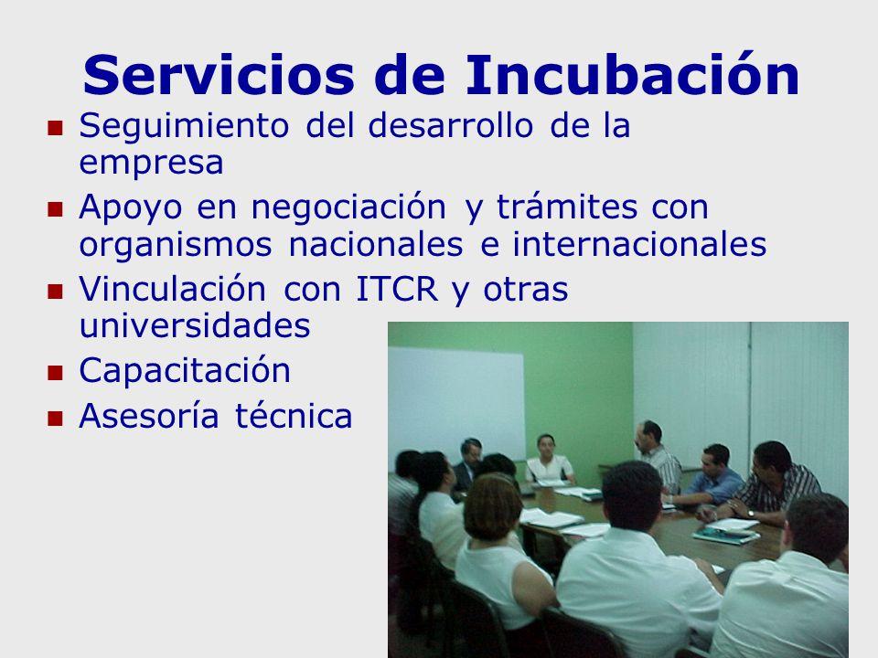 Servicios de Incubación Seguimiento del desarrollo de la empresa Apoyo en negociación y trámites con organismos nacionales e internacionales Vinculación con ITCR y otras universidades Capacitación Asesoría técnica