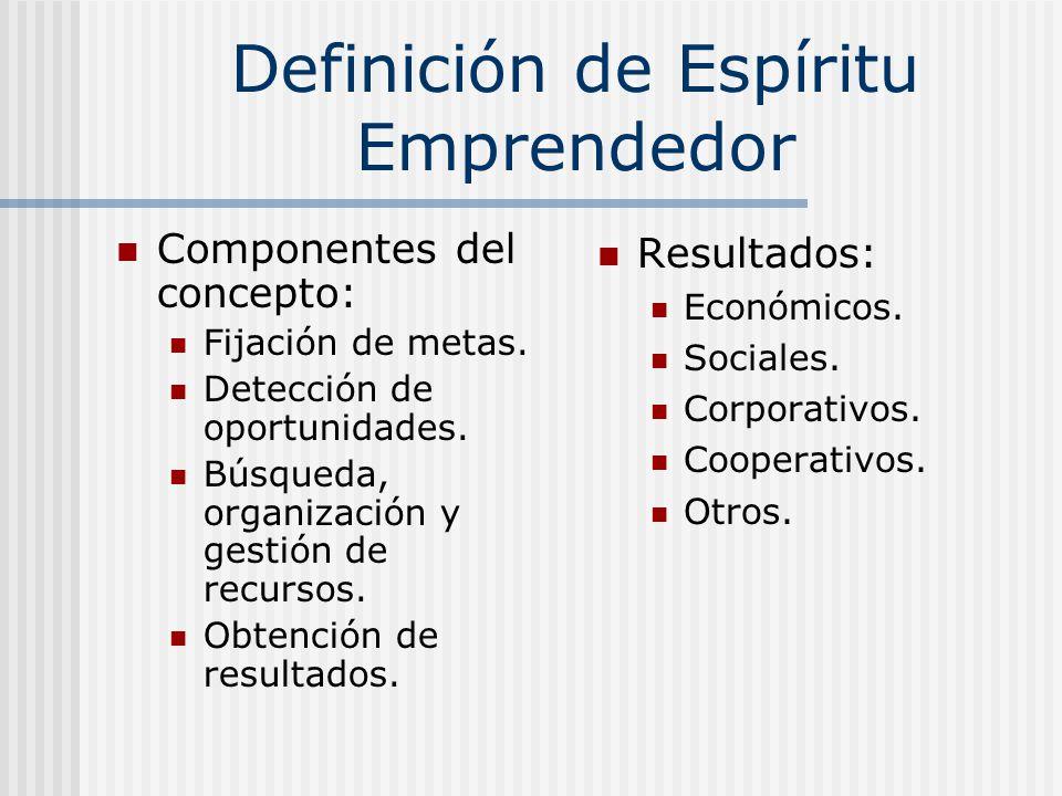 Definición de Espíritu Emprendedor Componentes del concepto: Fijación de metas. Detección de oportunidades. Búsqueda, organización y gestión de recurs