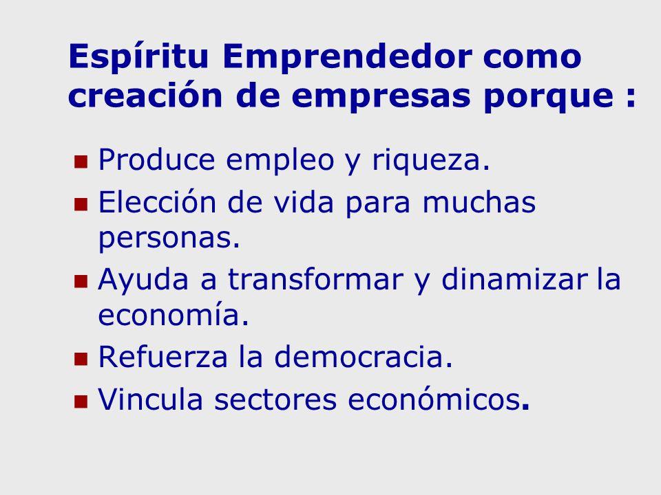 Espíritu Emprendedor como creación de empresas porque : Produce empleo y riqueza. Elección de vida para muchas personas. Ayuda a transformar y dinamiz