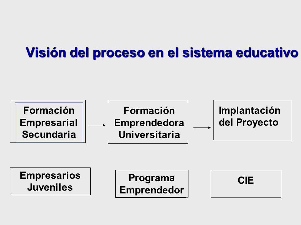 Visión del proceso en el sistema educativo Formación Empresarial Secundaria Formación Emprendedora Universitaria Implantación del Proyecto Empresarios Juveniles Programa Emprendedor CIE