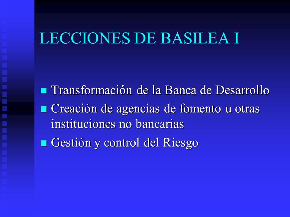 LECCIONES DE BASILEA I Transformación de la Banca de Desarrollo Transformación de la Banca de Desarrollo Creación de agencias de fomento u otras instituciones no bancarias Creación de agencias de fomento u otras instituciones no bancarias Gestión y control del Riesgo Gestión y control del Riesgo