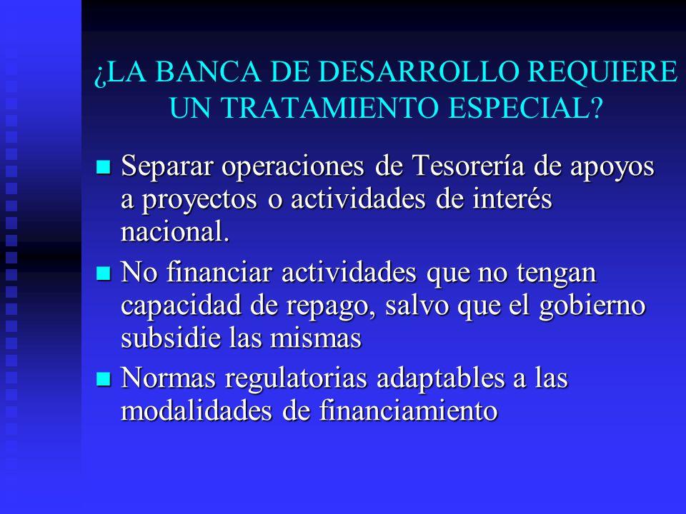 ¿LA BANCA DE DESARROLLO REQUIERE UN TRATAMIENTO ESPECIAL.