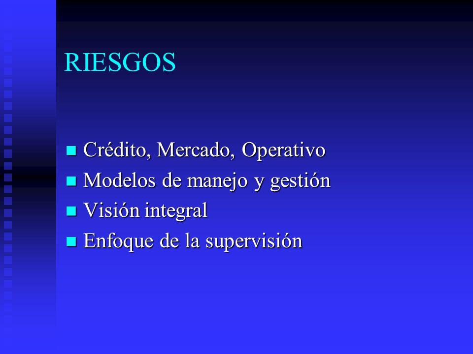 RIESGOS Crédito, Mercado, Operativo Crédito, Mercado, Operativo Modelos de manejo y gestión Modelos de manejo y gestión Visión integral Visión integral Enfoque de la supervisión Enfoque de la supervisión