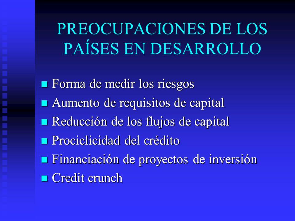 PREOCUPACIONES DE LOS PAÍSES EN DESARROLLO Forma de medir los riesgos Forma de medir los riesgos Aumento de requisitos de capital Aumento de requisitos de capital Reducción de los flujos de capital Reducción de los flujos de capital Prociclicidad del crédito Prociclicidad del crédito Financiación de proyectos de inversión Financiación de proyectos de inversión Credit crunch Credit crunch