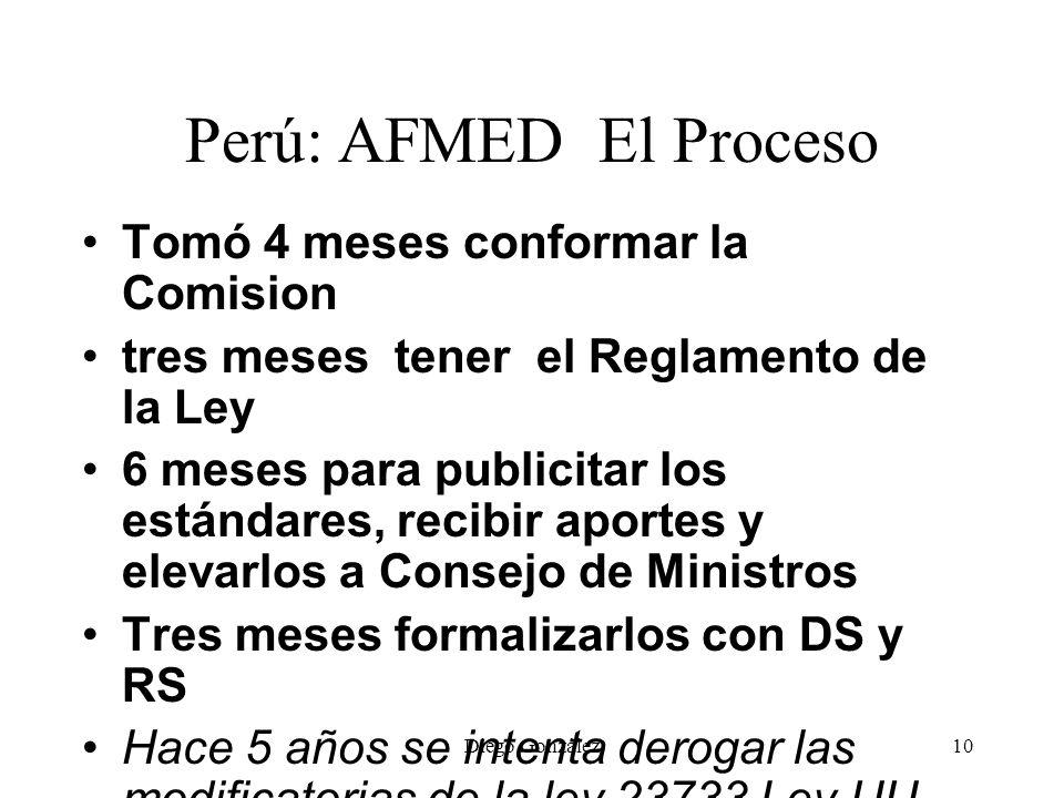 Diego González10 Perú: AFMED El Proceso Tomó 4 meses conformar la Comision tres meses tener el Reglamento de la Ley 6 meses para publicitar los estánd