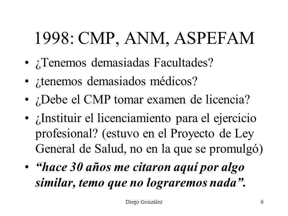 Diego González6 1998: CMP, ANM, ASPEFAM ¿Tenemos demasiadas Facultades? ¿tenemos demasiados médicos? ¿Debe el CMP tomar examen de licencia? ¿Instituir