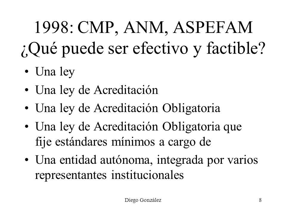 Diego González8 1998: CMP, ANM, ASPEFAM ¿Qué puede ser efectivo y factible? Una ley Una ley de Acreditación Una ley de Acreditación Obligatoria Una le