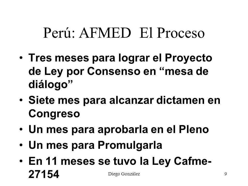Diego González10 Perú: AFMED El Proceso Tomó 4 meses conformar la Comision tres meses tener el Reglamento de la Ley 6 meses para publicitar los estándares, recibir aportes y elevarlos a Consejo de Ministros Tres meses formalizarlos con DS y RS Hace 5 años se intenta derogar las modificatorias de la ley 23733 Ley UU-