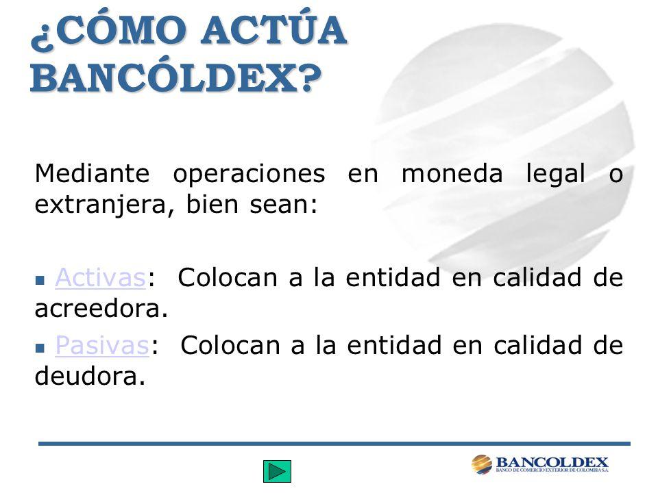 ¿CÓMO ACTÚA BANCÓLDEX? Mediante operaciones en moneda legal o extranjera, bien sean: n Activas: Colocan a la entidad en calidad de acreedora.Activas n
