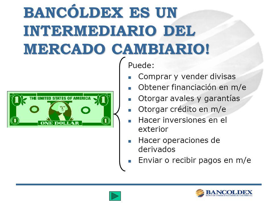 BANCÓLDEX ES UN INTERMEDIARIO DEL MERCADO CAMBIARIO! Puede: n Comprar y vender divisas n Obtener financiación en m/e n Otorgar avales y garantías n Ot