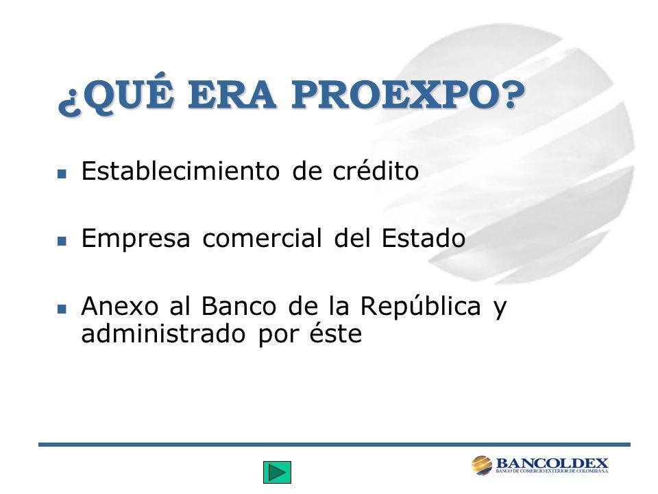 ¿QUÉ ERA PROEXPO? n Establecimiento de crédito n Empresa comercial del Estado n Anexo al Banco de la República y administrado por éste