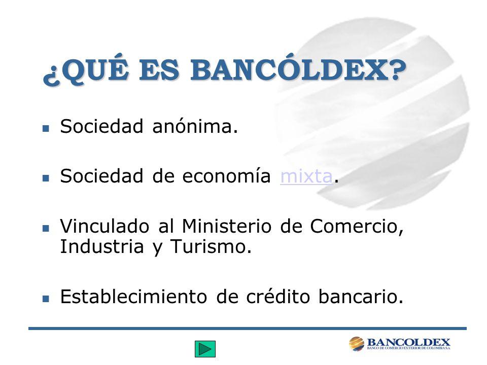 BANCÓLDEX ES UN ESTABLECIMIENTO DE CRÉDITO.n Bancos.