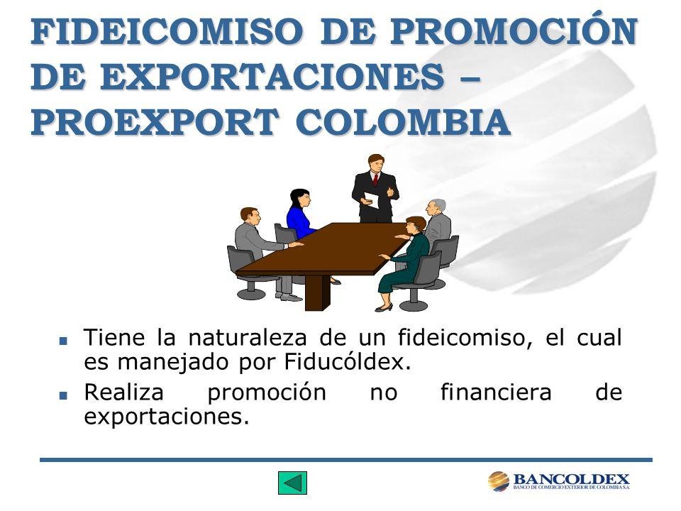 FIDEICOMISO DE PROMOCIÓN DE EXPORTACIONES – PROEXPORT COLOMBIA n Tiene la naturaleza de un fideicomiso, el cual es manejado por Fiducóldex. n Realiza