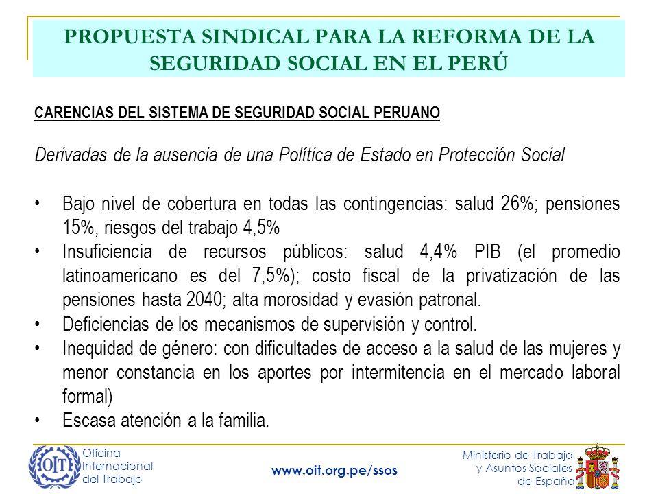 Oficina Internacional del Trabajo Ministerio de Trabajo y Asuntos Sociales de España www.oit.org.pe/ssos PROPUESTA SINDICAL PARA LA REFORMA DE LA SEGURIDAD SOCIAL EN EL PERÚ Carencias del Sistema de Salud No existe una instancia coordinadora de un Sistema Nacional de Salud.