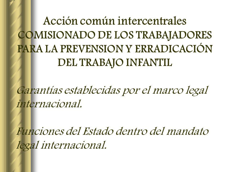 Acción común intercentrales COMISIONADO DE LOS TRABAJADORES PARA LA PREVENSION Y ERRADICACIÓN DEL TRABAJO INFANTIL Garantías establecidas por el marco