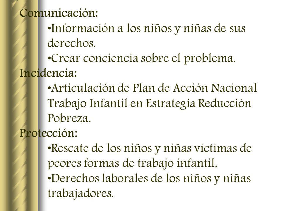 Comunicación: Información a los niños y niñas de sus derechos. Crear conciencia sobre el problema. Incidencia: Articulación de Plan de Acción Nacional
