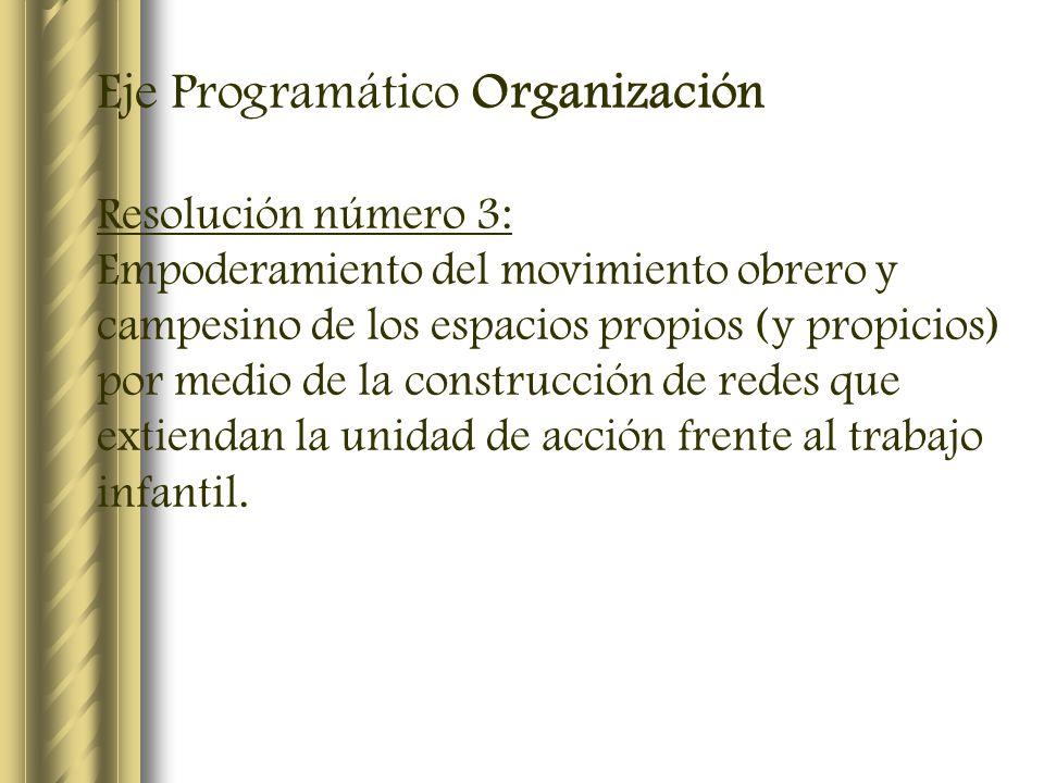 Eje Programático Organización Resolución número 3: Empoderamiento del movimiento obrero y campesino de los espacios propios (y propicios) por medio de