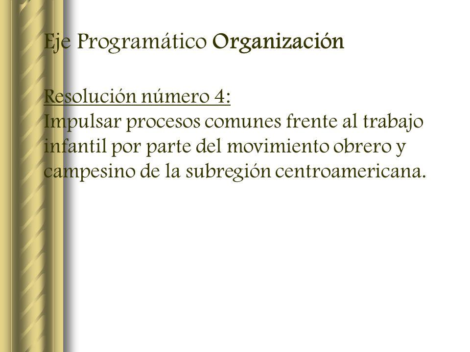 Eje Programático Organización Resolución número 4: Impulsar procesos comunes frente al trabajo infantil por parte del movimiento obrero y campesino de