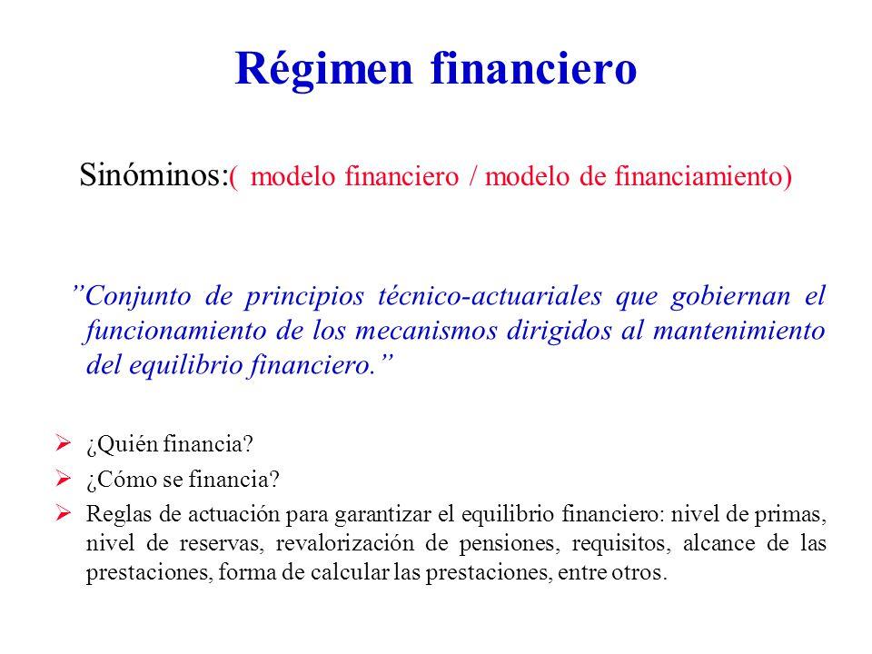Régimen financiero Sinóminos: ( modelo financiero / modelo de financiamiento) Conjunto de principios técnico-actuariales que gobiernan el funcionamiento de los mecanismos dirigidos al mantenimiento del equilibrio financiero.
