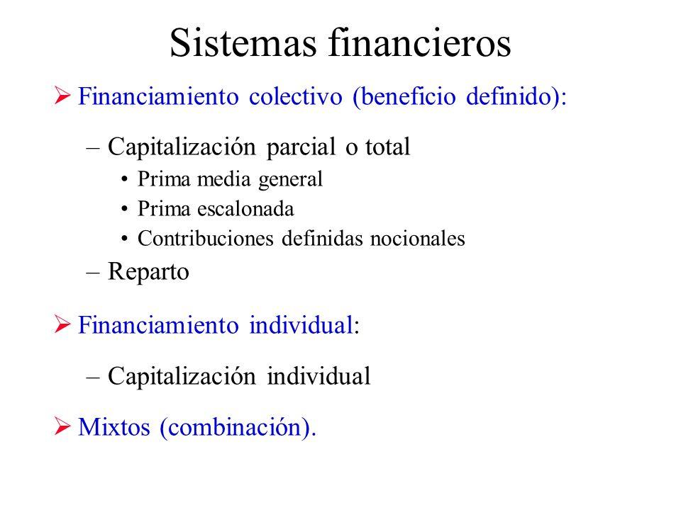 Sistemas financieros Financiamiento colectivo (beneficio definido): –Capitalización parcial o total Prima media general Prima escalonada Contribuciones definidas nocionales –Reparto Financiamiento individual: –Capitalización individual Mixtos (combinación).