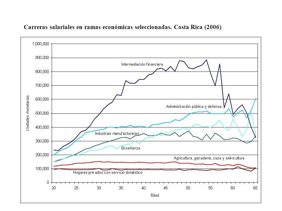 Carreras salariales en ramas económicas seleccionadas. Costa Rica (2006)