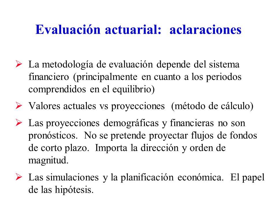 Evaluación actuarial: aclaraciones La metodología de evaluación depende del sistema financiero (principalmente en cuanto a los periodos comprendidos en el equilibrio) Valores actuales vs proyecciones (método de cálculo) Las proyecciones demográficas y financieras no son pronósticos.