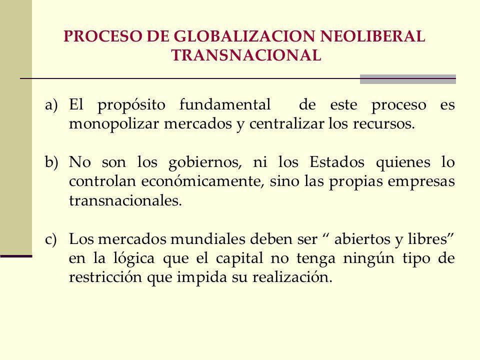 a)Globalización b)Neoliberalismo c)Política monetarista d)Endeudamiento externo e interno e)Consenso de Washington (ajustes estructurales) Reducir déf