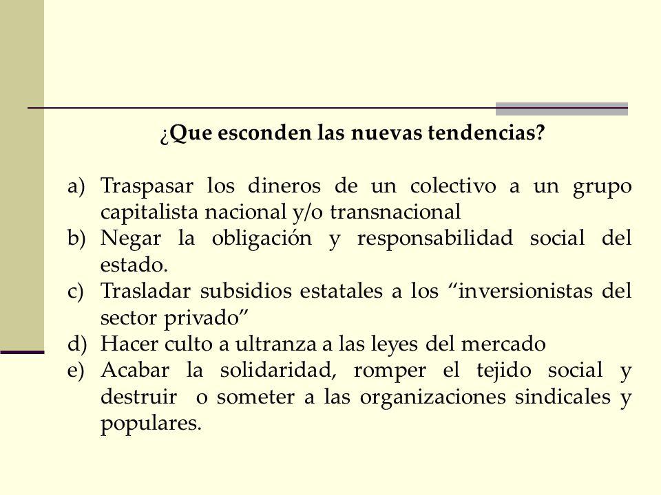NUEVAS TENDENCIAS DE LA SEGURIDAD SOCIAL a) Modernización versus Obsolescencia? a)Eficiencia versus Ineficiencia? b)Libertad de elegir versus Colectiv