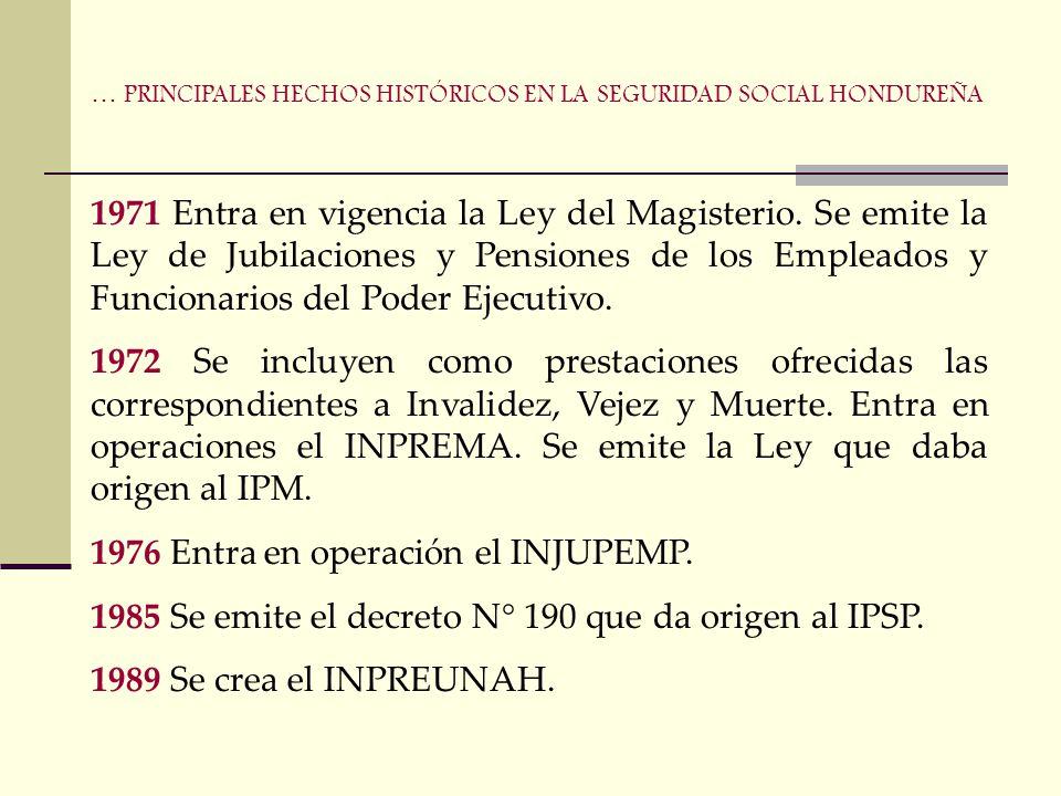 1957 Aprobación del decreto N° 21 con las bases constitucionales del IHSS 1959 Se promulga el Código del Trabajo. Emisión del decreto N° 140 de la Ley