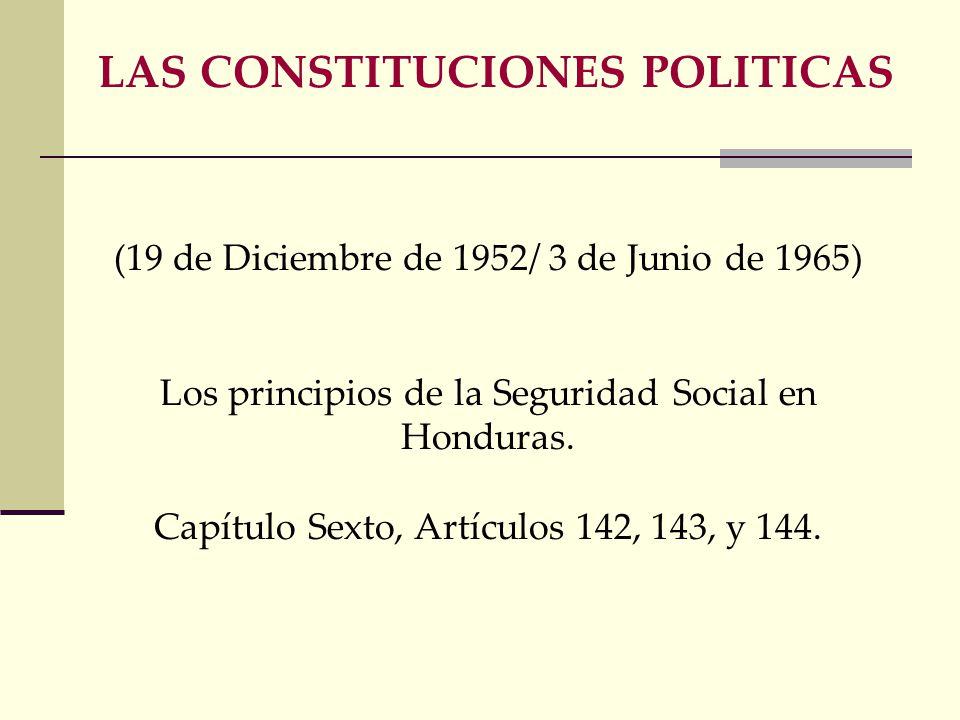 (19 de Diciembre de 1952/ 3 de Junio de 1965) Los principios de la Seguridad Social en Honduras.