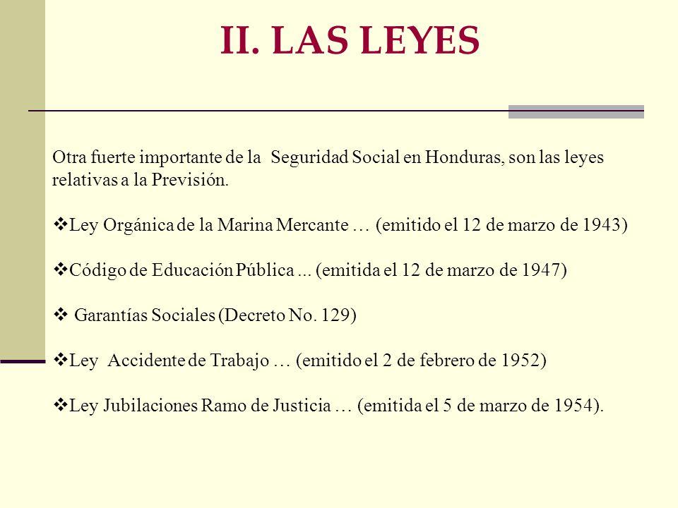 Otra fuerte importante de la Seguridad Social en Honduras, son las leyes relativas a la Previsión.