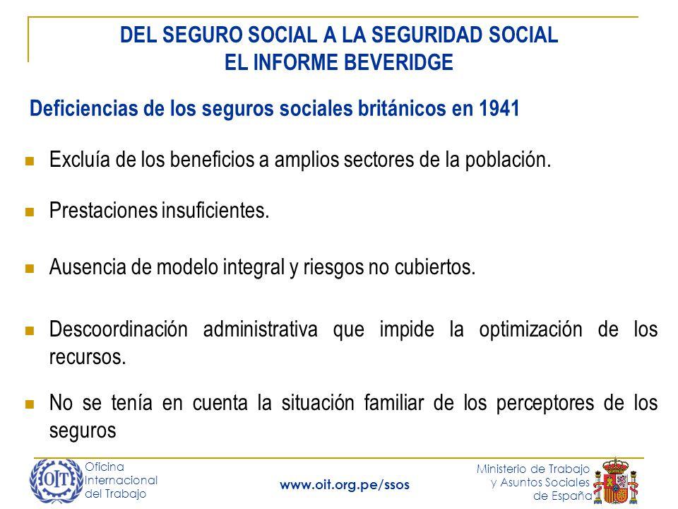 Oficina Internacional del Trabajo Ministerio de Trabajo y Asuntos Sociales de España www.oit.org.pe/ssos Excluía de los beneficios a amplios sectores de la población.