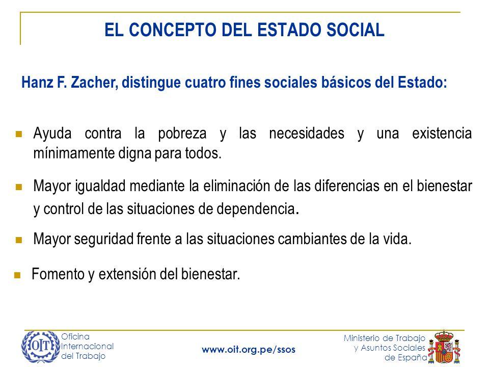 Oficina Internacional del Trabajo Ministerio de Trabajo y Asuntos Sociales de España www.oit.org.pe/ssos Ayuda contra la pobreza y las necesidades y una existencia mínimamente digna para todos.