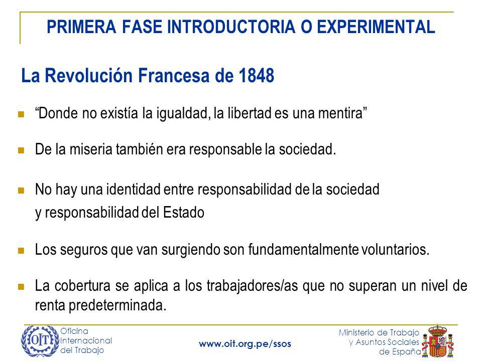 Oficina Internacional del Trabajo Ministerio de Trabajo y Asuntos Sociales de España www.oit.org.pe/ssos Seguro de enfermedad: financiado 2/3 trabajador y 1/3 empresario.