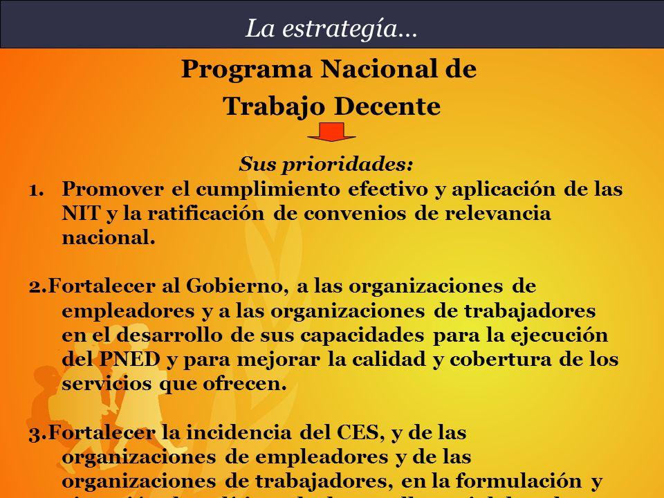 Efecto directo 1.1 El país adecua y mejora la aplicación de la legislación laboral nacional, particularmente referida a los Convenios Fundamentales y Prioritarios de la OIT.