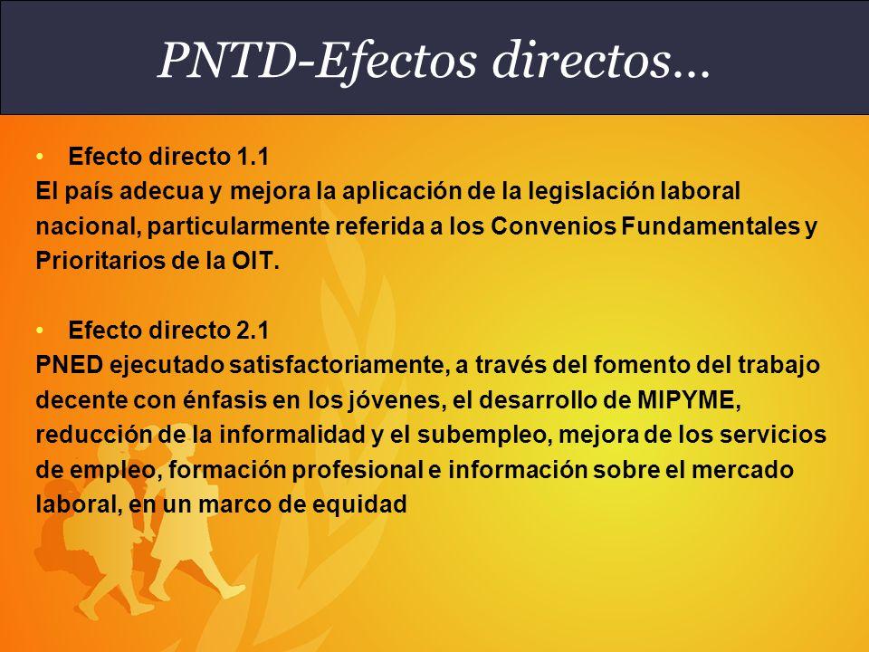 Efecto directo 2.4 El Gobierno y los interlocutores sociales formulan y ejecutan políticas, programas y estrategias tendientes a la reducción del trabajo infantil y a la eliminación de la explotación sexual comercial.