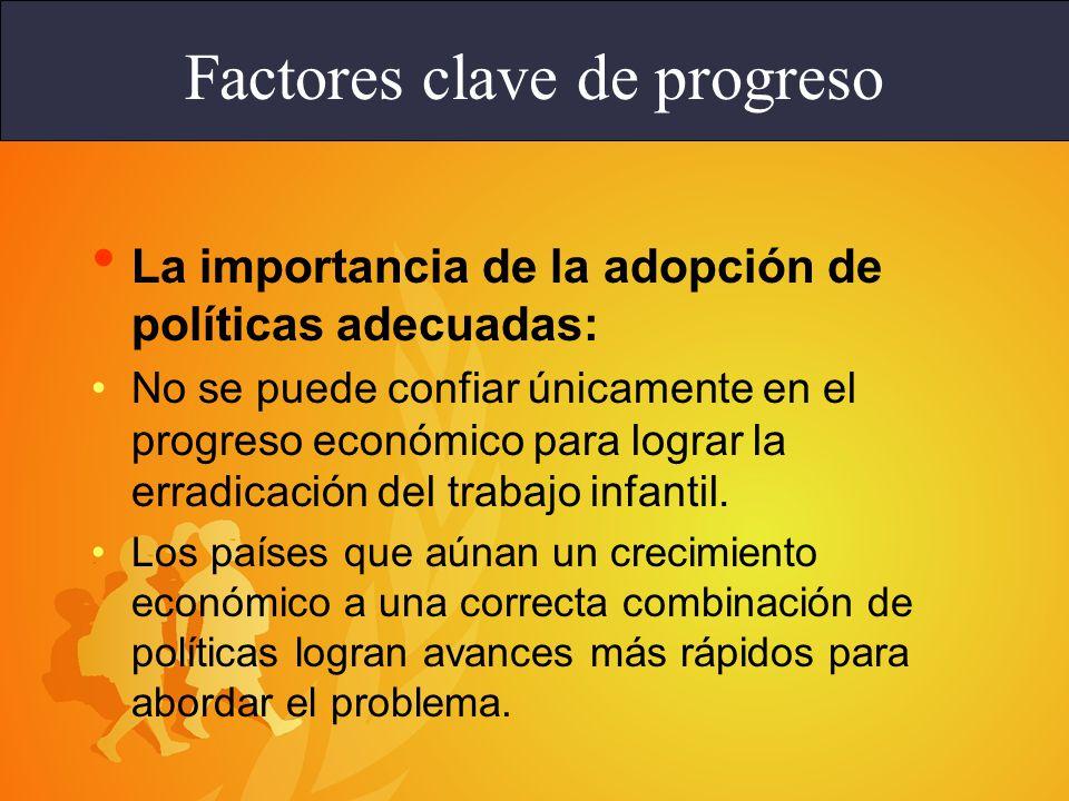 Las políticas fundamentales para abordar el problema del trabajo infantil están relacionadas con: la educación; la mejora de las posibilidades de ingresos para los adultos (trabajo decente); la sensibilización, y la legislación y su cumplimiento.