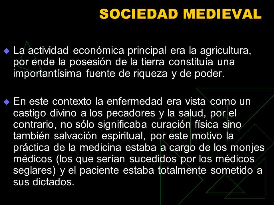 SOCIEDAD MEDIEVAL La actividad económica principal era la agricultura, por ende la posesión de la tierra constituía una importantísima fuente de riqueza y de poder.