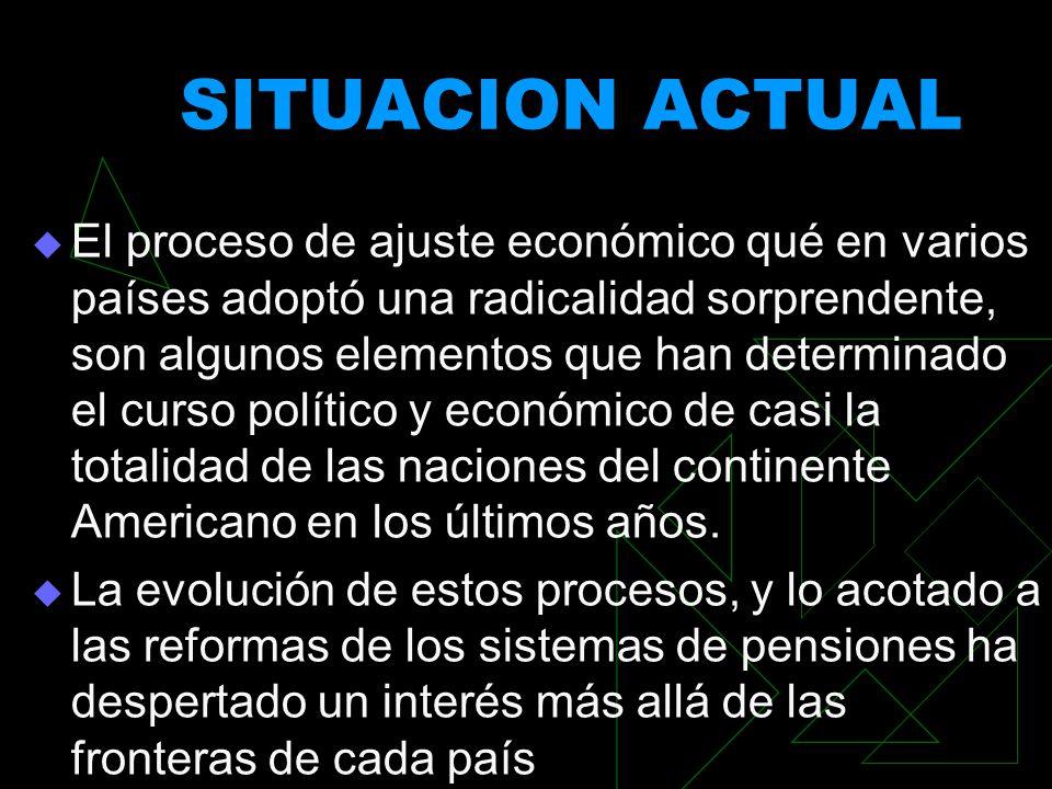 SITUACION ACTUAL El proceso de ajuste económico qué en varios países adoptó una radicalidad sorprendente, son algunos elementos que han determinado el
