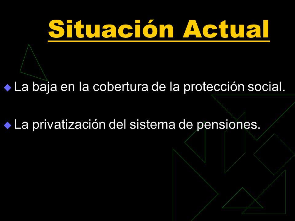 Situación Actual La baja en la cobertura de la protección social. La privatización del sistema de pensiones.