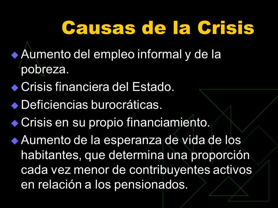 Causas de la Crisis Aumento del empleo informal y de la pobreza. Crisis financiera del Estado. Deficiencias burocráticas. Crisis en su propio financia