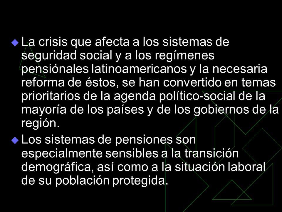 La crisis que afecta a los sistemas de seguridad social y a los regímenes pensiónales latinoamericanos y la necesaria reforma de éstos, se han convertido en temas prioritarios de la agenda político-social de la mayoría de los países y de los gobiernos de la región.