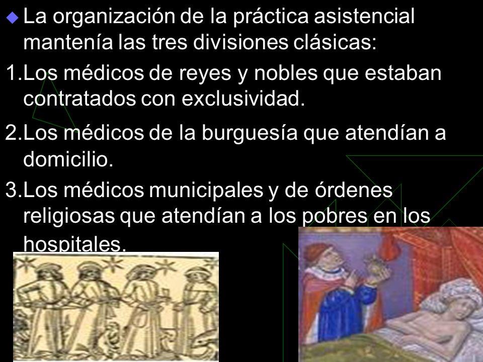 La organización de la práctica asistencial mantenía las tres divisiones clásicas: 1.Los médicos de reyes y nobles que estaban contratados con exclusividad.