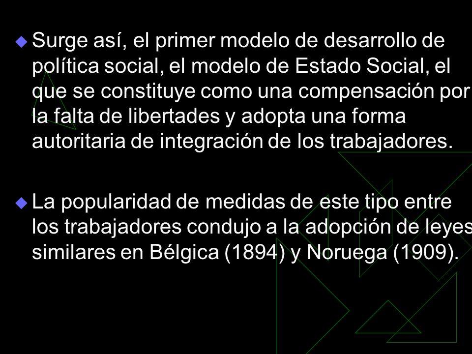 Surge así, el primer modelo de desarrollo de política social, el modelo de Estado Social, el que se constituye como una compensación por la falta de l