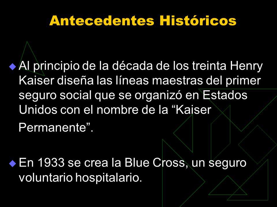 Antecedentes Históricos Al principio de la década de los treinta Henry Kaiser diseña las líneas maestras del primer seguro social que se organizó en Estados Unidos con el nombre de la Kaiser Permanente.