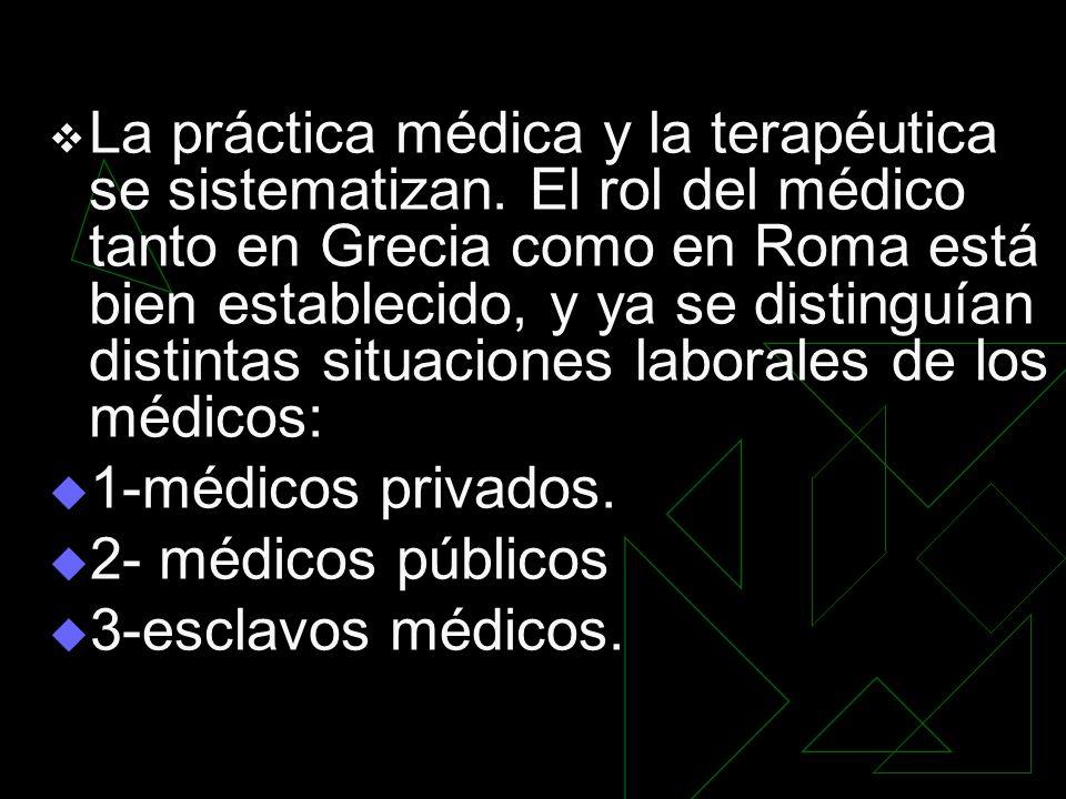 La práctica médica y la terapéutica se sistematizan. El rol del médico tanto en Grecia como en Roma está bien establecido, y ya se distinguían distint