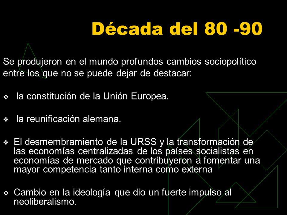 Década del 80 -90 Se produjeron en el mundo profundos cambios sociopolítico entre los que no se puede dejar de destacar: la constitución de la Unión Europea.