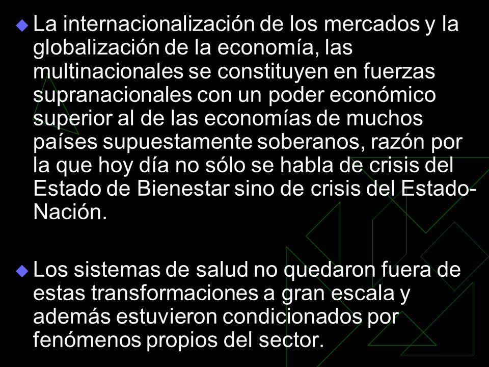 La internacionalización de los mercados y la globalización de la economía, las multinacionales se constituyen en fuerzas supranacionales con un poder
