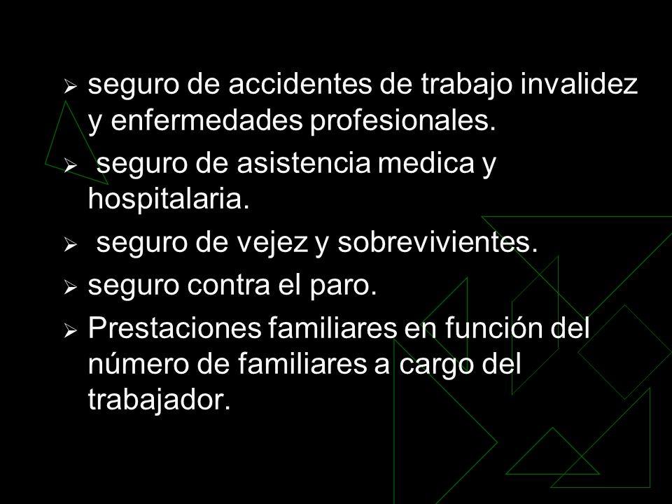 seguro de accidentes de trabajo invalidez y enfermedades profesionales. seguro de asistencia medica y hospitalaria. seguro de vejez y sobrevivientes.