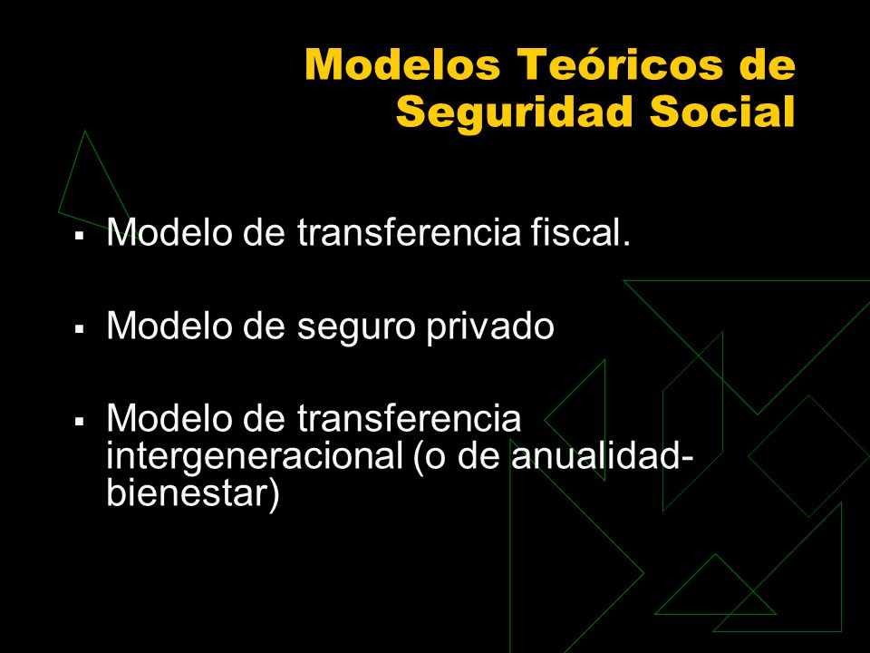 Modelos Teóricos de Seguridad Social Modelo de transferencia fiscal. Modelo de seguro privado Modelo de transferencia intergeneracional (o de anualida